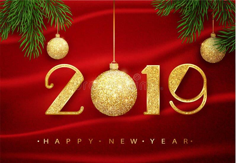 2019 Szczęśliwych nowy rok Wektoru 2019 nowego roku Szczęśliwy tło z złotą błyskotliwości piłką Wektor 10 eps ilustracji