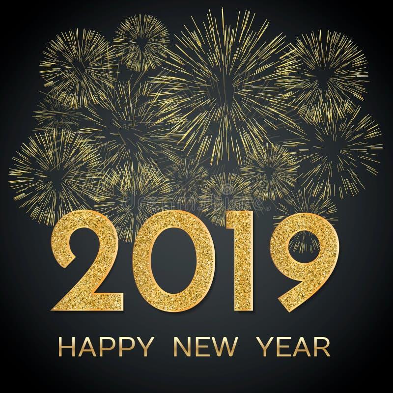 2019 Szczęśliwych nowy rok Złociści fajerwerki na ciemnym tle nowy rok, ilustracji