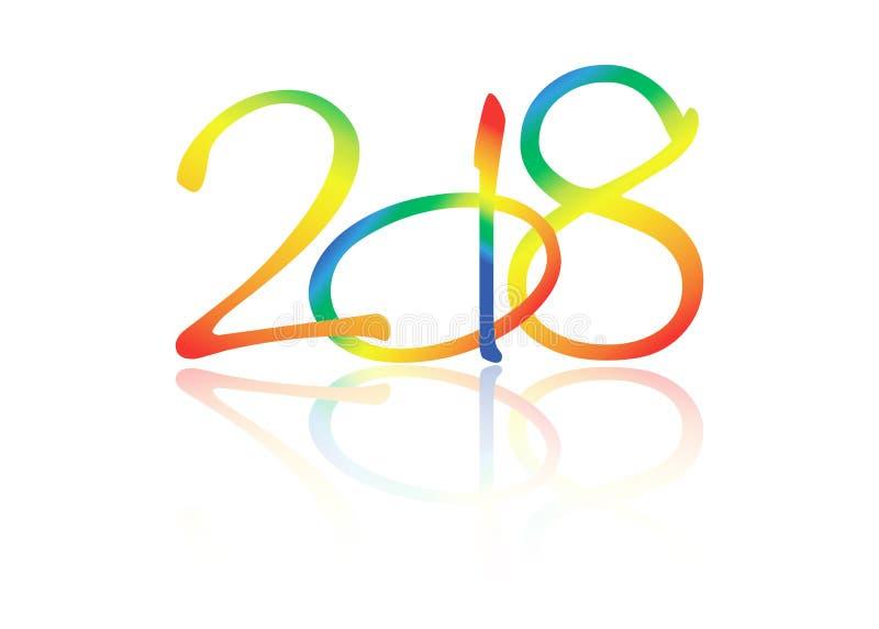 2018 Szczęśliwych nowy rok z, elementy dla kalendarza i kartka z pozdrowieniami kolorowym tekstury, odizolowywającym lub białym t royalty ilustracja