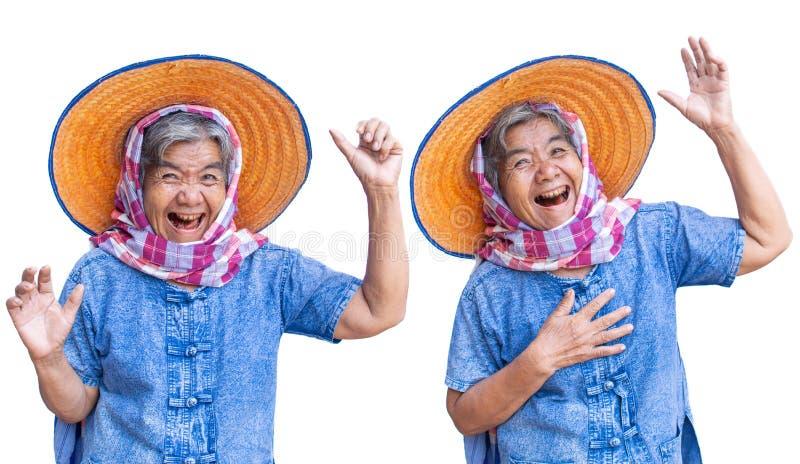 Szczęśliwych starych kobiet średniorolny uśmiechnięty, radosny i fotografia royalty free