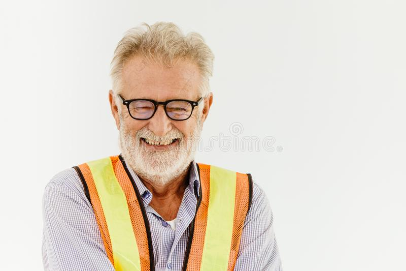 Szczęśliwych szkieł architekta inżyniera portreta starszy uśmiech fotografia stock