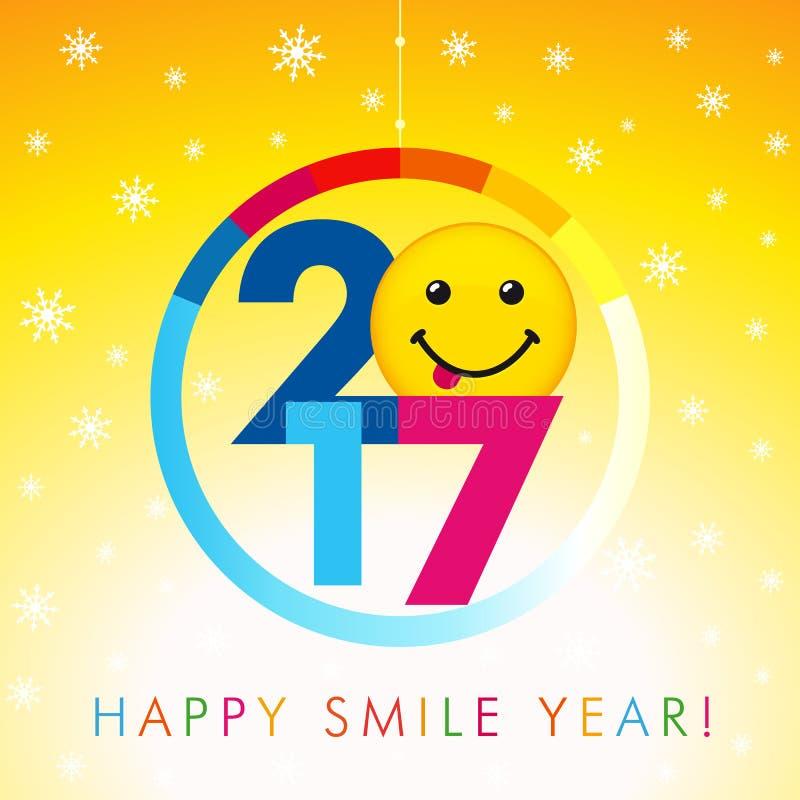 2017 szczęśliwych uśmiechu roku kart royalty ilustracja