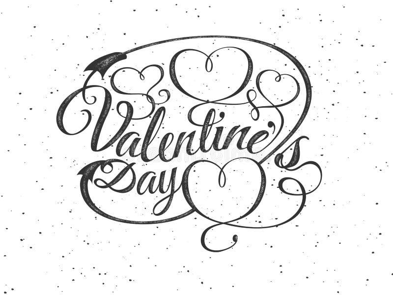 szczęśliwych valentines karciany dzień Chrzcielnica skład z sercami Wektorowa piękna Wakacyjna romantyczna ilustracja znaczek ilustracja wektor