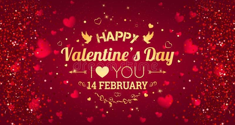 szczęśliwych valentines karciany dzień kocham cię 14 Luty Wakacyjny tło z sercami, światło, gra główna rolę również zwrócić corel ilustracja wektor
