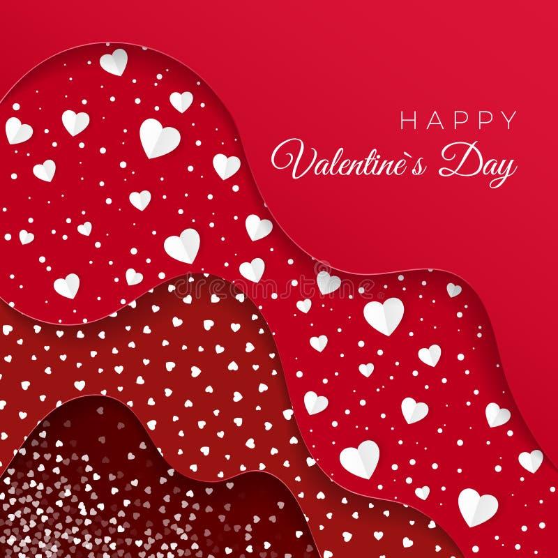 szczęśliwych valentines karciany dzień Rewolucjonistek warstwy z różnymi Dekoracyjnymi elementami Papierowi Biali serca Romantycz royalty ilustracja