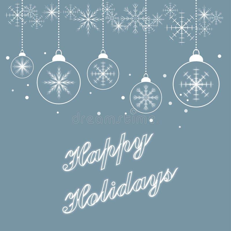 Szczęśliwych wakacji płatków śniegu karciani boże narodzenia ornamentują pastelowego błękit royalty ilustracja