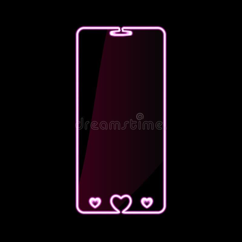 Szczęśliwych walentynka dnia telefonu komórkowego menchii gadżetu neonowa ikona, smartphone znak z sercami Jaskrawy rozjarzony sy royalty ilustracja