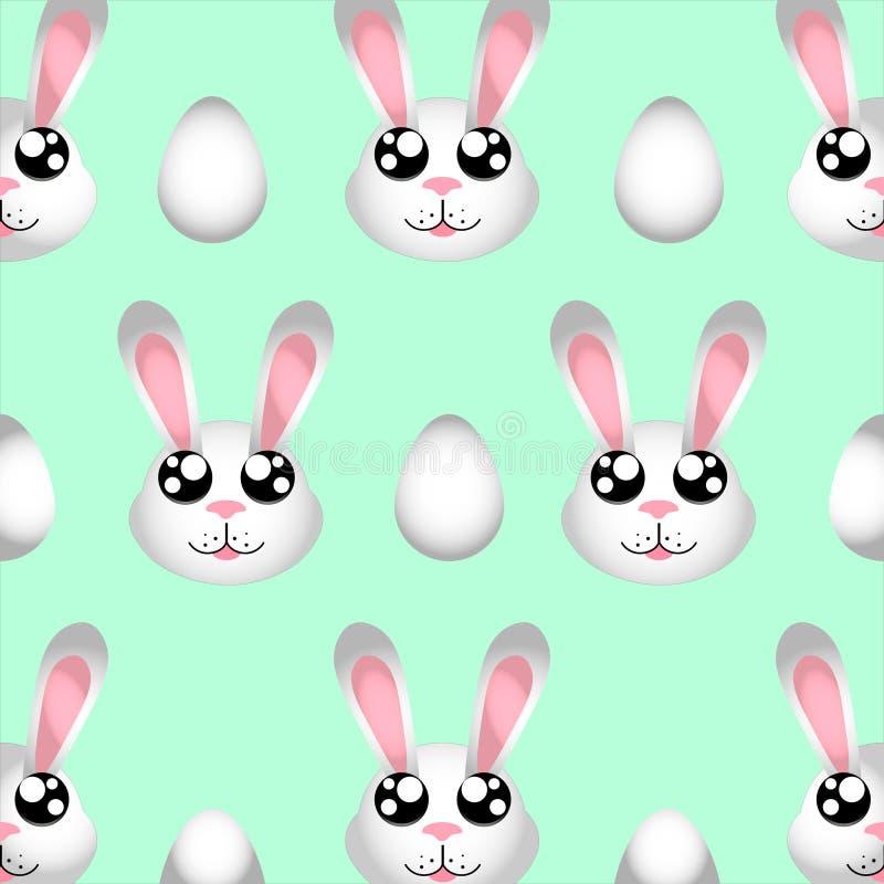 Szczęśliwych Wielkanocnych ślicznych prostych królik ilustracji deseniowi i Wielkanocni bezszwowi jajka odizolowywający na błękit ilustracja wektor