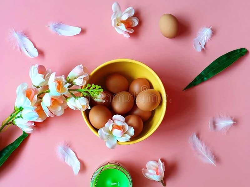 Szczęśliwych Wielkanocnych jajek Grapefruits witaminy menchii Czerwonych Proteinowych białych jabłczanych kwiatów aromata świeczk fotografia royalty free