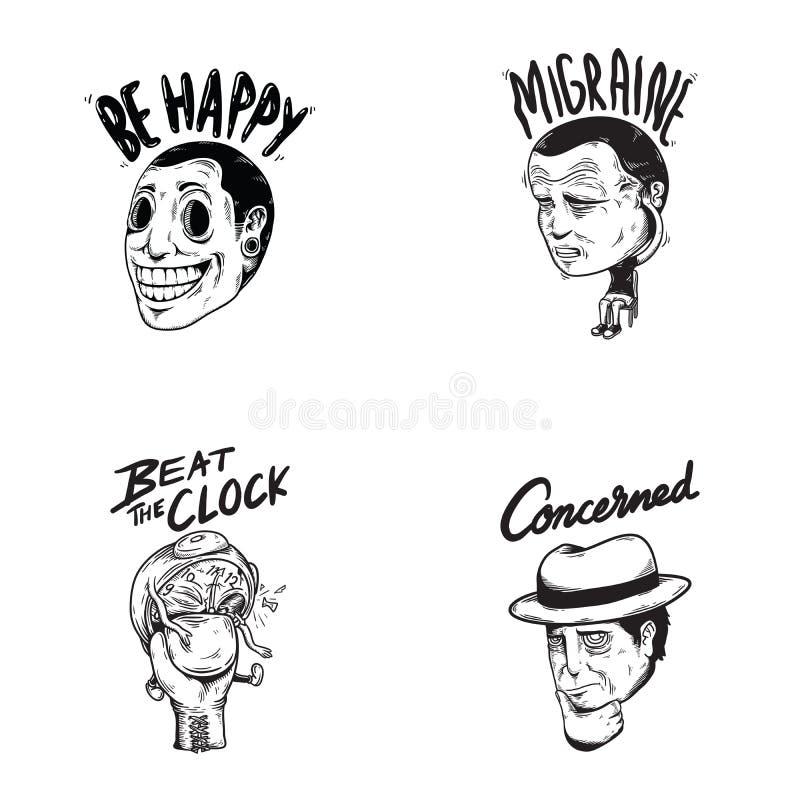 Szczęśliwych Zaniepokojonych emocj Wyrażeniowych uczuć Graficzna ikona Illustr royalty ilustracja