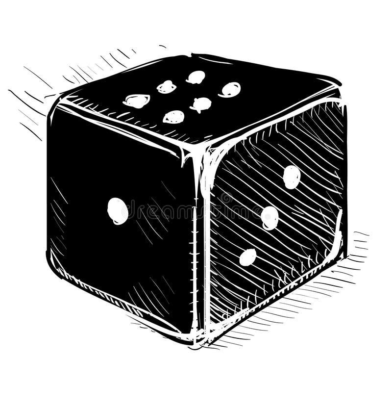 Szczęsliwa kostka do gry kreskówki ikona royalty ilustracja