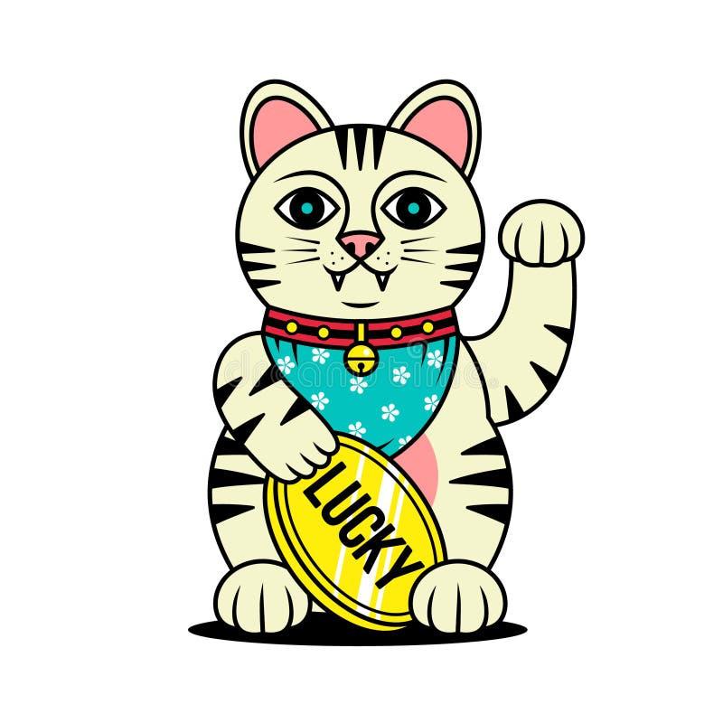 SZCZĘSLIWA kota MANEKI NEKO JAPOŃSKA postać royalty ilustracja