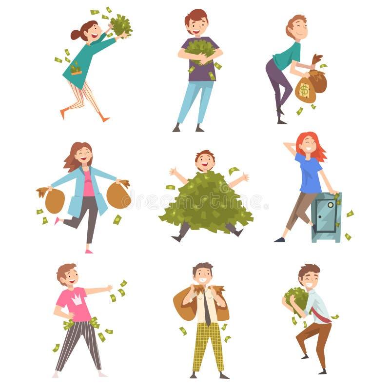 Szczęsliwi Pomyślni Bogaci ludzie Ustawiający, Szczęśliwi Zamożni mężczyźni i kobieta z udziałem pieniądze wektoru ilustracja, ilustracja wektor