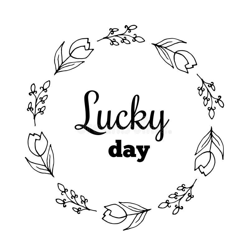 Szczęsliwy dnia teksta kwiatu wianek, ręka rysujący bobek Kartka z pozdrowieniami projekt dla zaproszeń, wycena, blogi, plakaty W ilustracja wektor