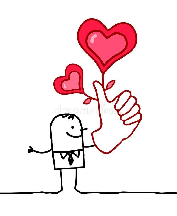 Szczęsliwy kochanek z dużą ręką ilustracji