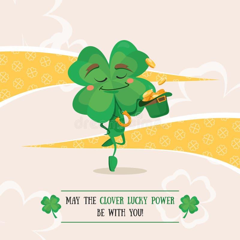 Szczęsliwy koniczynowy dancingowy irlandzki taniec ilustracja wektor