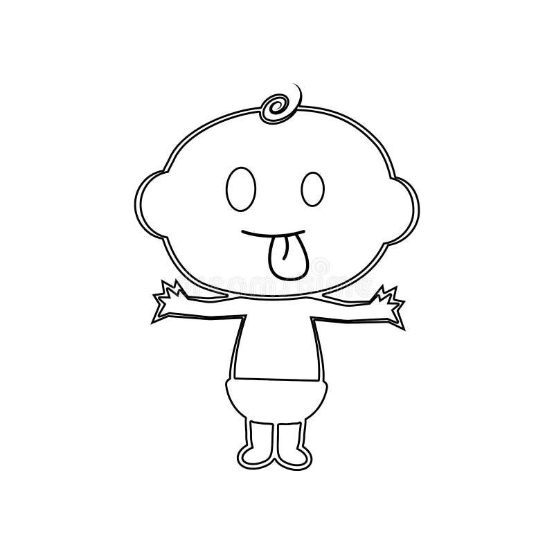 Szcz??liwa j?zor ch?opiec ikona out Element dziecko dla mobilnego poj?cia i sieci apps ikony Kontur, cienka kreskowa ikona dla st ilustracji