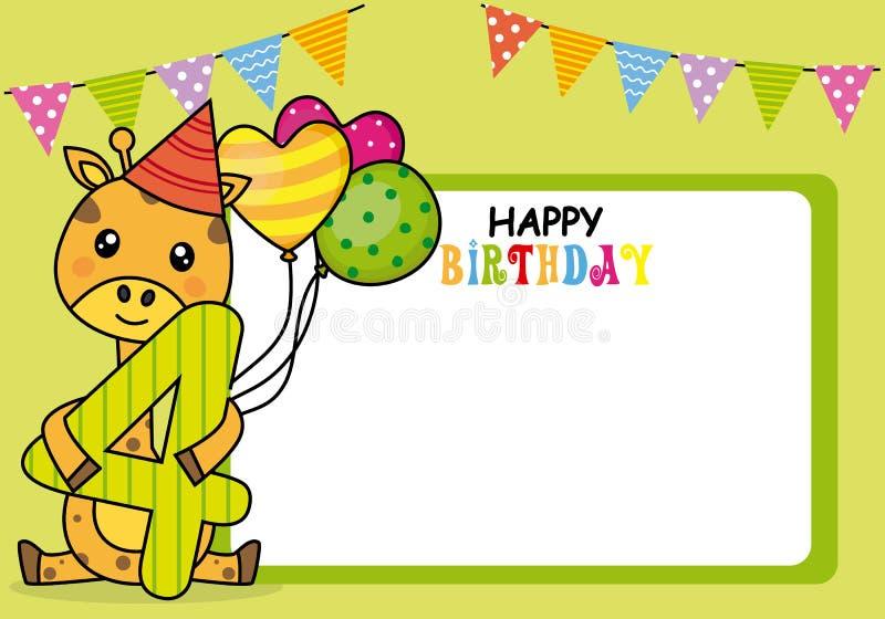 szcz??liwa kartk? na urodziny Żyrafa z balonami i numerowymi cztery royalty ilustracja