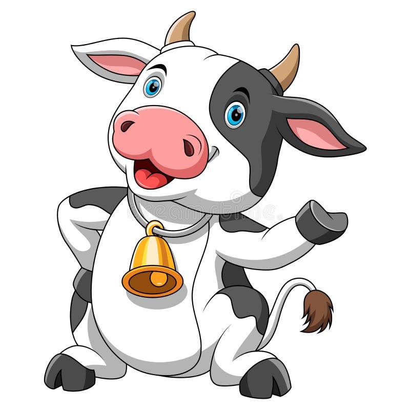 Szcz??liwa kresk?wki krowa ilustracji