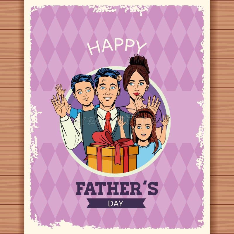 Szcz??liwa ojca dnia karta ilustracja wektor