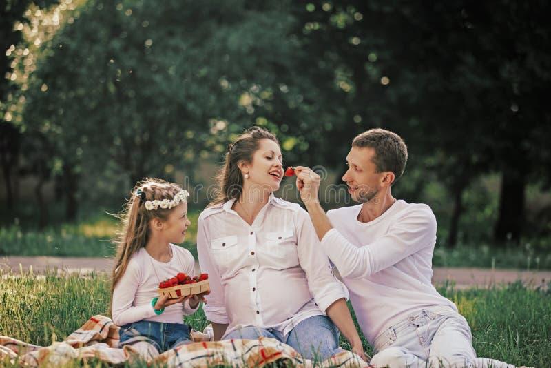 Szcz??liwa rodzina cieszy si? truskawki przy pinkinem obrazy stock