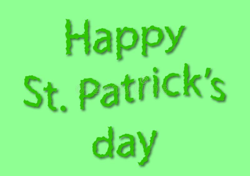 Szcz??liwa st Patrick dnia ziele? pisze ilustracji zdjęcia stock