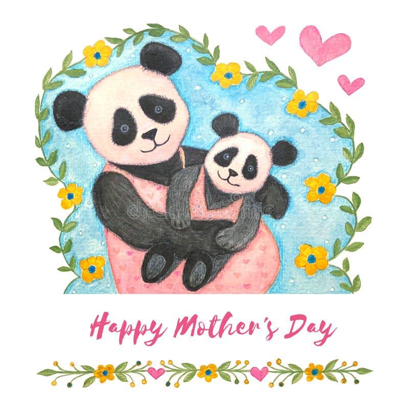 szcz??liwe dzie? matki Śliczna akwareli ilustracja panda ilustracji