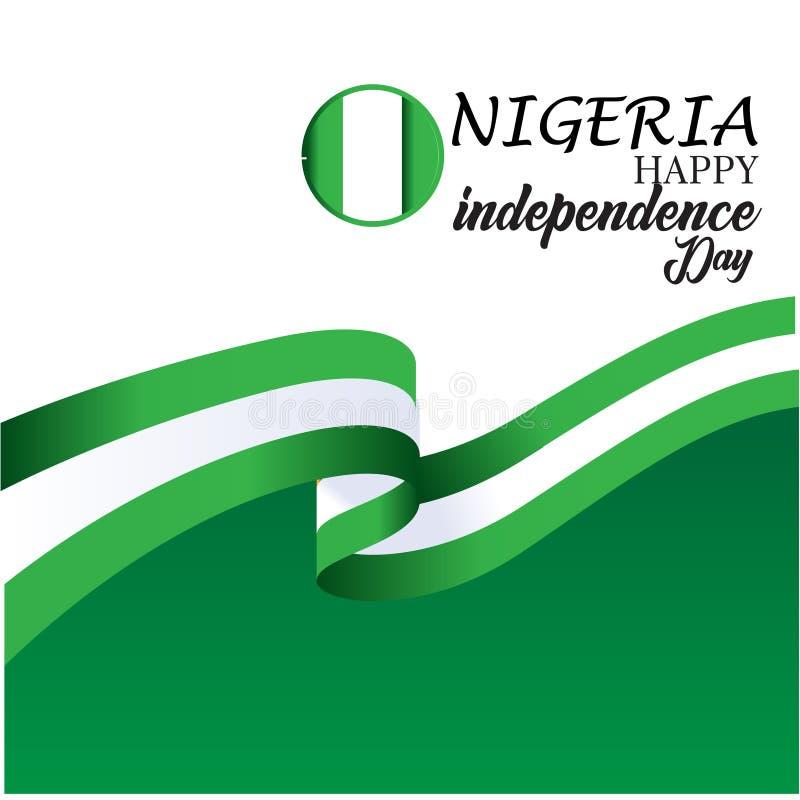 Szcz??liwego Nigeria dnia niepodleg?o?ci szablonu projekta Wektorowa ilustracja ilustracja wektor