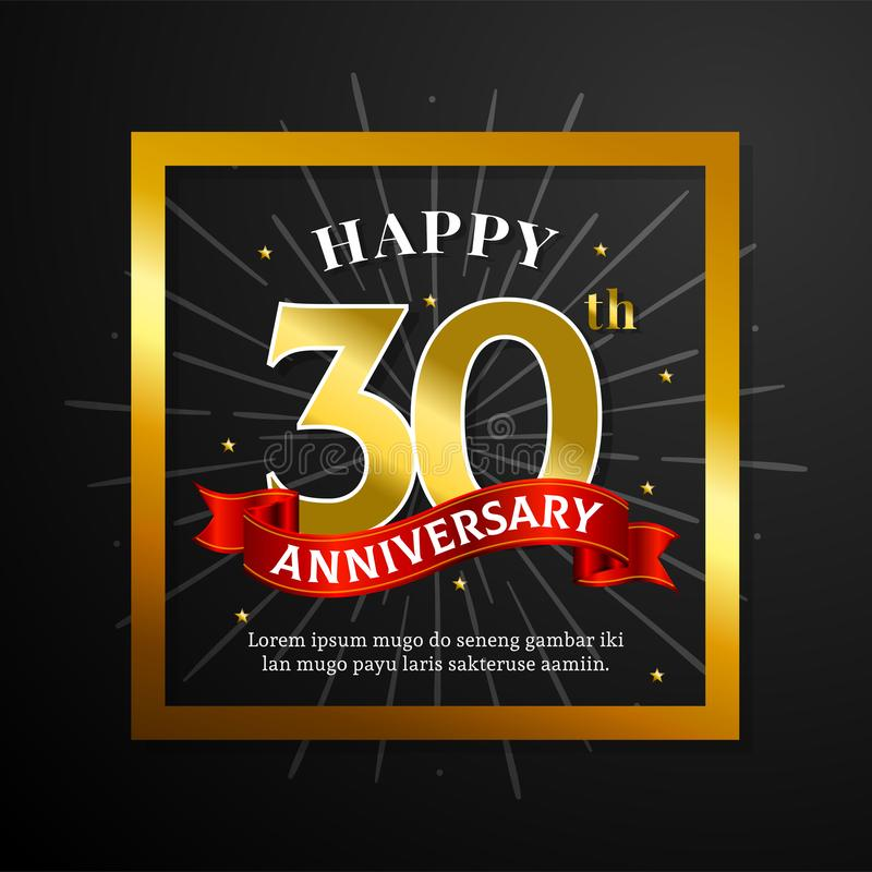 Szcz??liwej 30th Rocznicowej kartki z pozdrowieniami wektorowy projekt Czarny papier z złotą kwadrat ramą z tasiemkowym tłem ilustracji