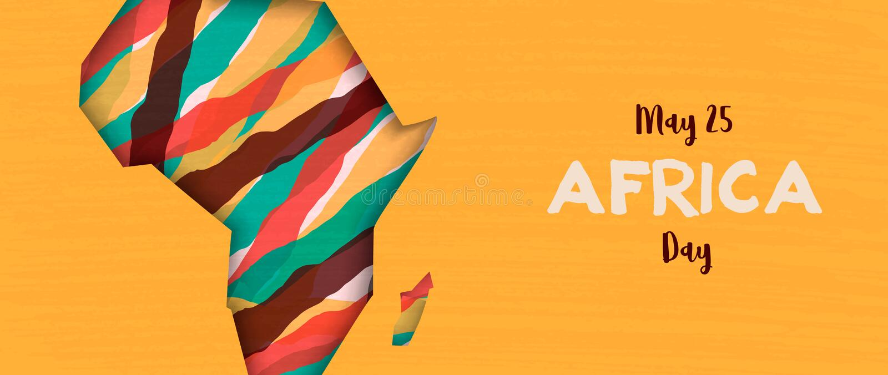Szcz??liwy Afryka dnia sztandar afrykanina papieru r?ni?ta mapa royalty ilustracja