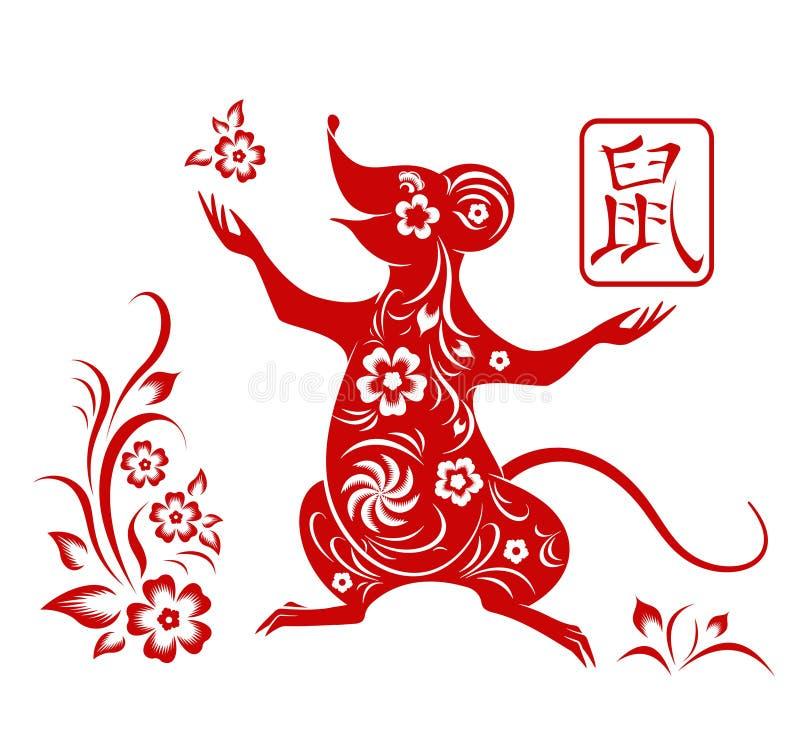 Szcz??liwy chi?ski nowy rok 2020 Zodiaka szyldowy rok szczur, czerwień papieru rżnięty szczur royalty ilustracja