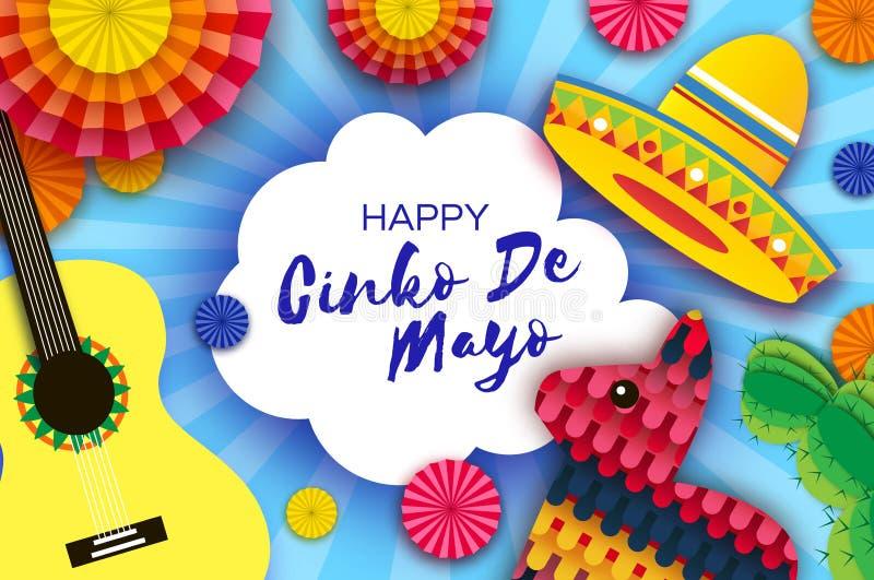 Szcz??liwy Cinco De Mayo kartka z pozdrowieniami Papierowy fan, ?mieszny Pinata, gitara, kaktus w papieru ci?cia stylu Origami so ilustracja wektor