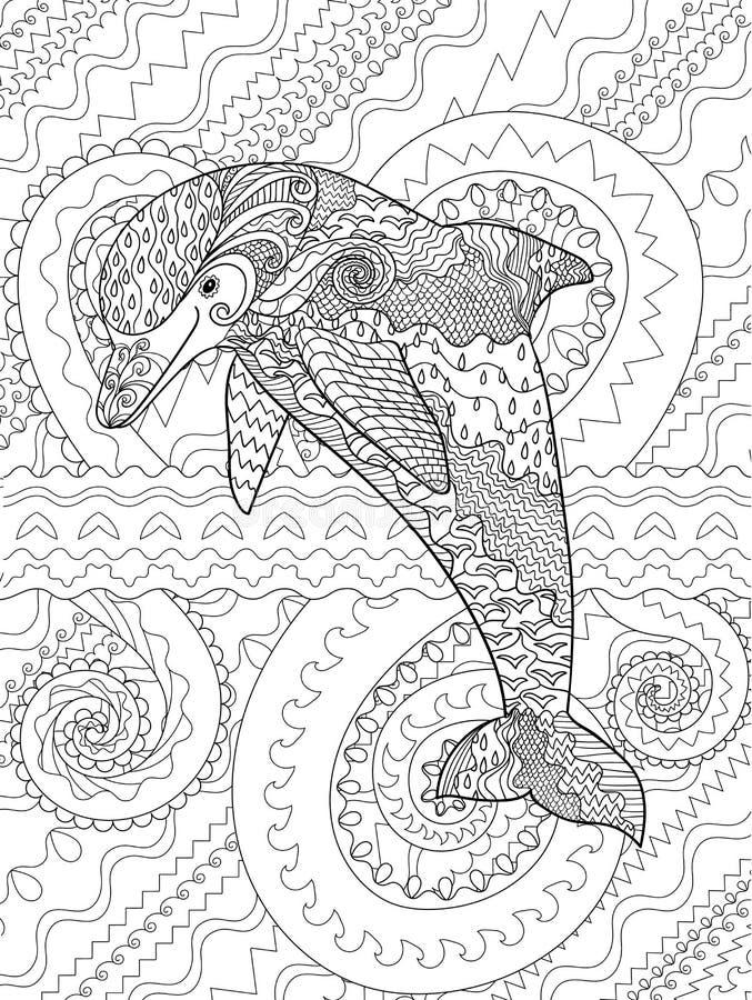 Szcz??liwy delfin z wysokimi szczeg??ami ilustracja wektor