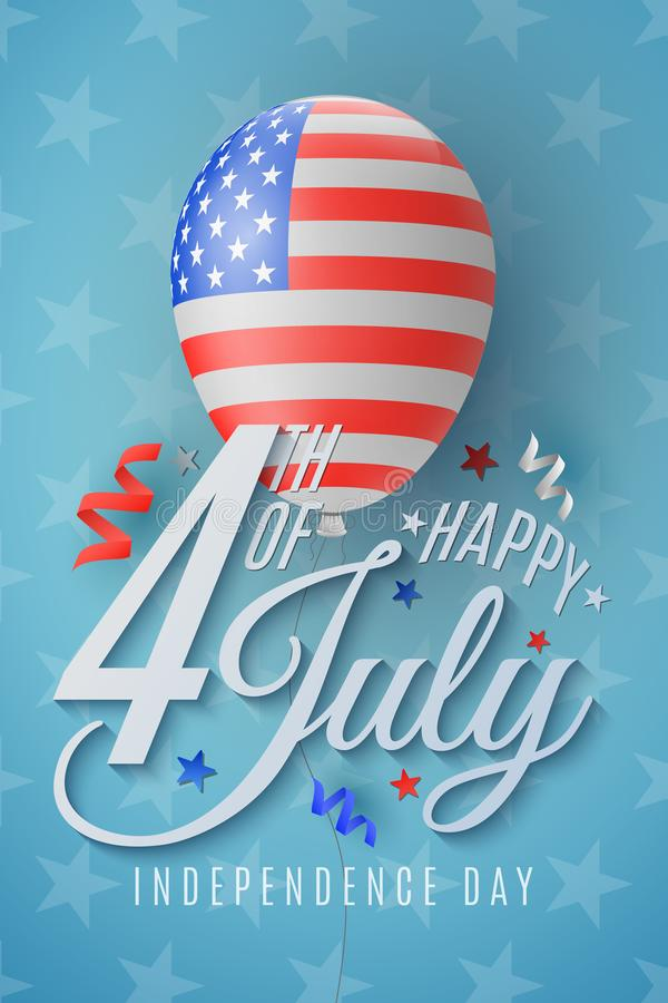 Szcz??liwy dnia niepodleg?o?ci plakat 4 Lipca Serpentyna i confetti Stany Zjednoczone Ameryka flagi wzór Realistyczny latanie ilustracji
