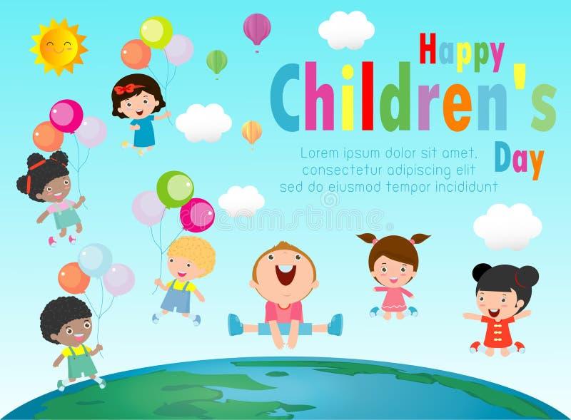 Szcz??liwy dziecko dnia t?o, grupa dzieciaki skacze na kuli ziemskiej, dziecko dnia plakat z szcz??liw? dzieciaka wektoru ilustra royalty ilustracja