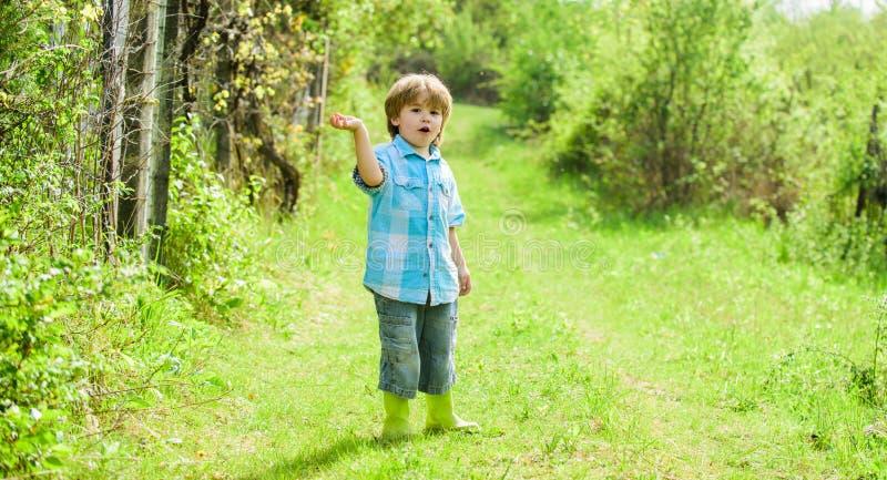 szcz??liwy dziecko rolnik w gumowych butach, wiosna ludzka natura br?zowi? dzie? zakrywaj?c? ziemi? ?rodowiskowy ulistnienie idzi obrazy stock