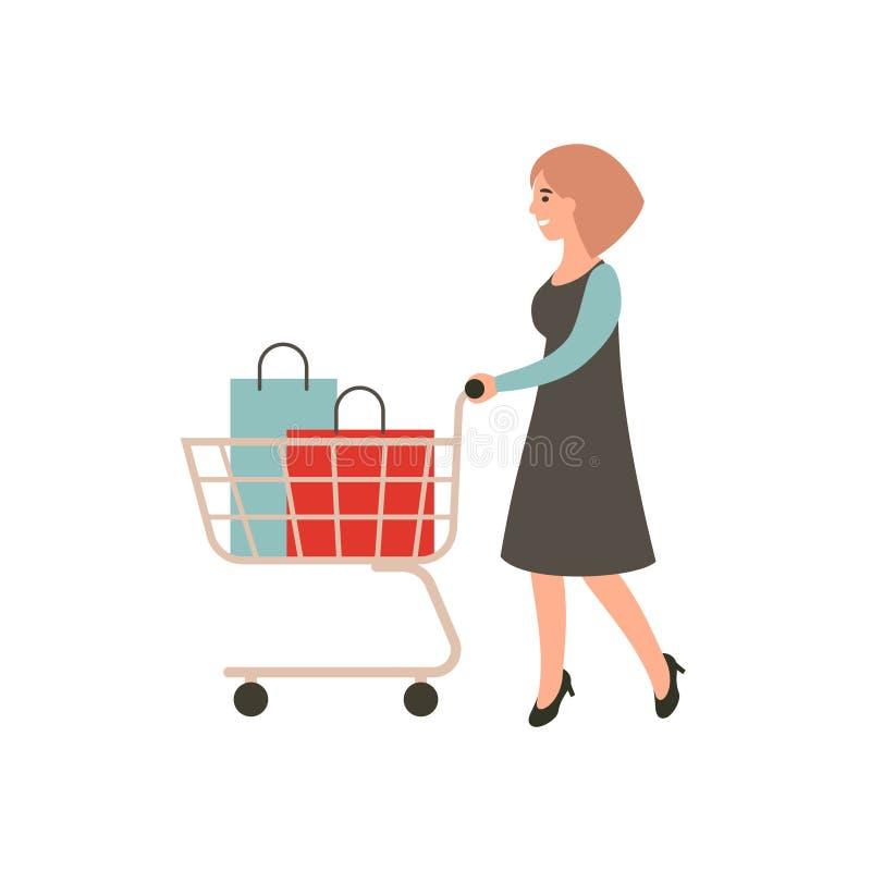 szcz??liwy dziewczyna zakupy Kobieta z w?zek na zakupy ?e?ska shopaholic poj?cie sztuka Kresk?wka charakteru wektorowy projekt royalty ilustracja