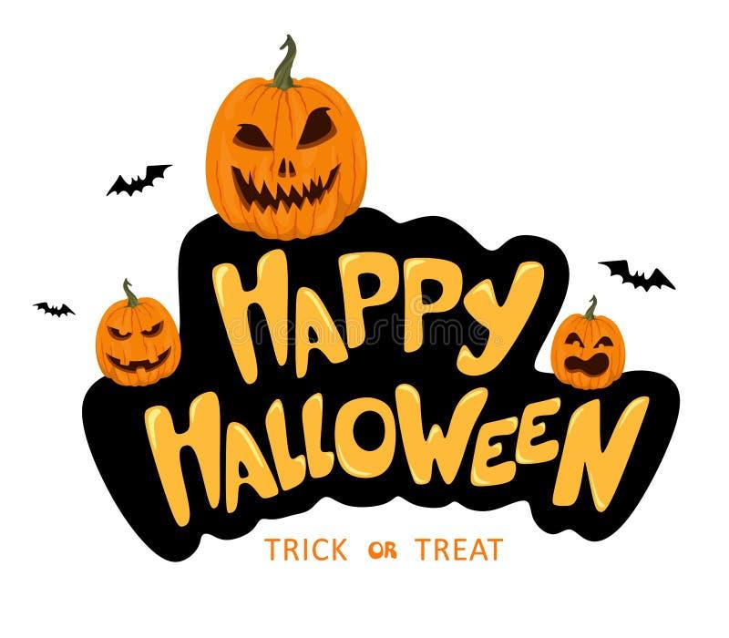 Szcz??liwy Halloweenowy r?cznie pisany tekst Wolumetryczny i fantazja literowanie z baniami Wektor odizolowywa wystrój na biały b ilustracji