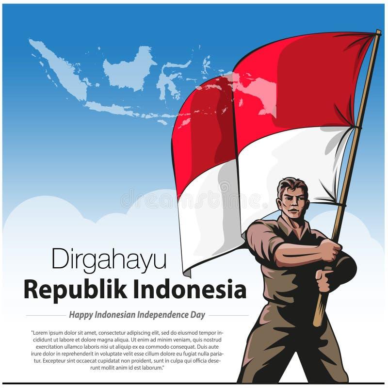 Szcz??liwy Indonezja dzie? niepodleg?o?ci royalty ilustracja