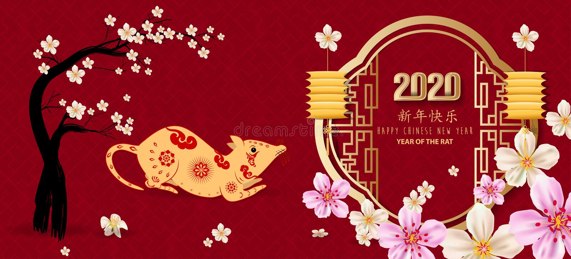 Szcz??liwy nowy rok 2020, weso?o bo?e narodzenia Szcz??liwy Chi?ski nowy rok 2020 rok szczur royalty ilustracja
