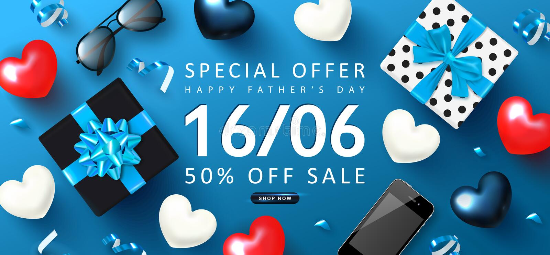 Szcz??liwy ojca dnia sprzeda?y sztandar Tło z prezentów pudełkami, okularami przeciwsłonecznymi, sercami, telefonem i streamers,  ilustracji