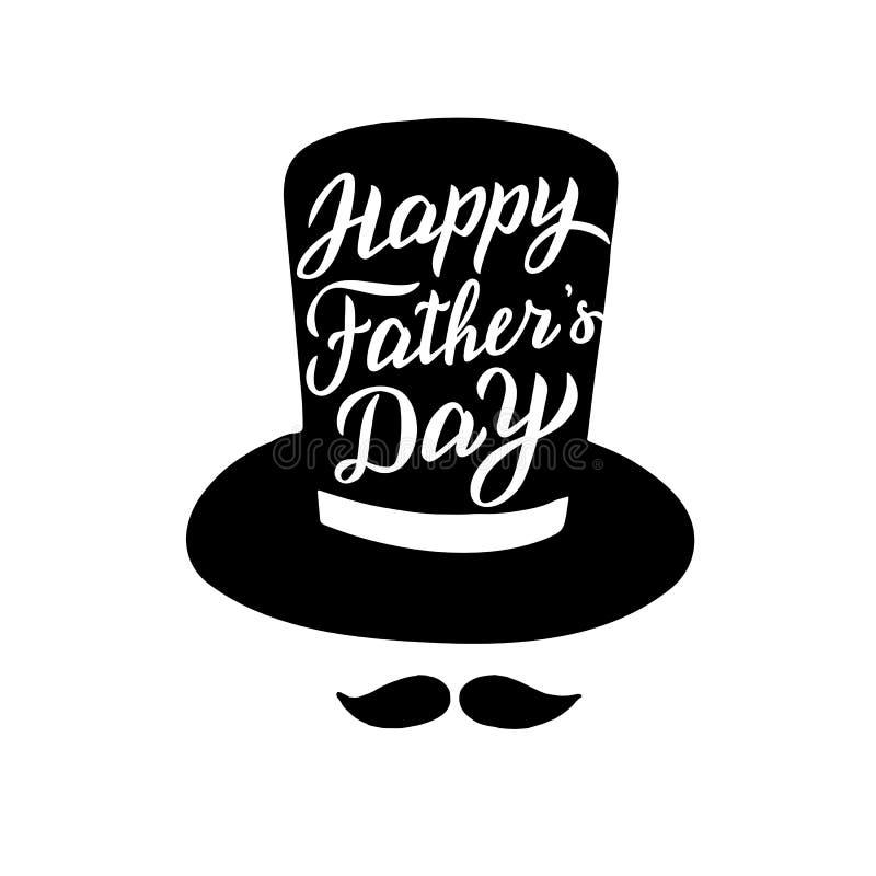 Szcz??liwy ojca ` s dnia kartka z pozdrowieniami Modny literowanie tekst Taty wakacyjny zwrot royalty ilustracja