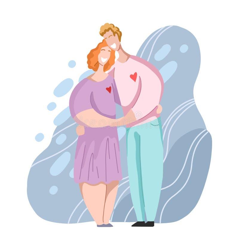 Szcz??liwy pary przytulenie, ?mia? si? i Związki i miłość heteroseksualna rodzina Data w nowożytnym mieszkanie stylu royalty ilustracja
