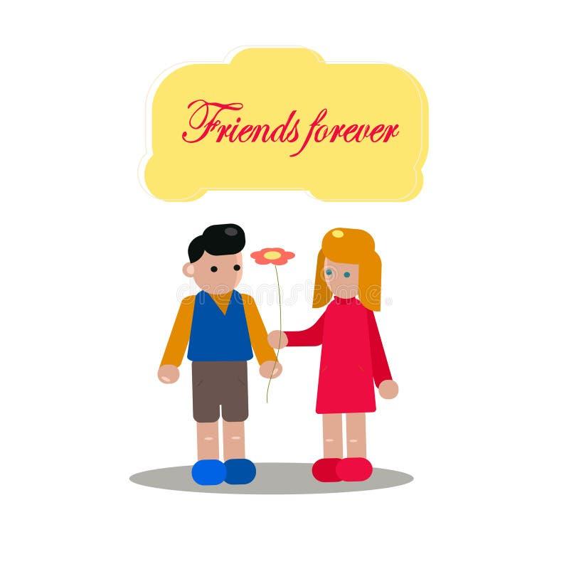 Szcz??liwy przyja?? dnia sieci sztandar Przyjaciele robi wysokości pięć dla specjalnego wydarzenia świętowania w prostym kij post royalty ilustracja