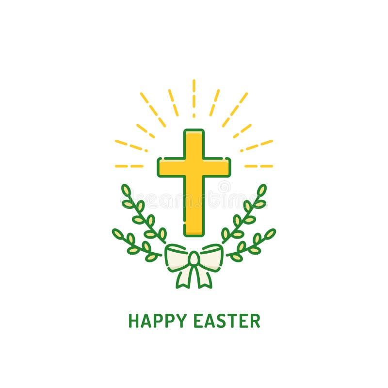 Szcz??liwy Wielkanocny kartka z pozdrowieniami Chrze?cijanina krzy? z wierzb? Religia wakacje logo ilustracja wektor