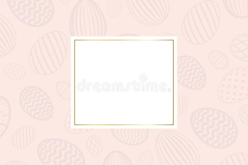 Szcz??liwy Wielkanocny t?o, pastelowi textured jajka Z?ocista dekoracja papieru rama Powitanie wielkanocy 3D karta rabatowy szabl ilustracja wektor
