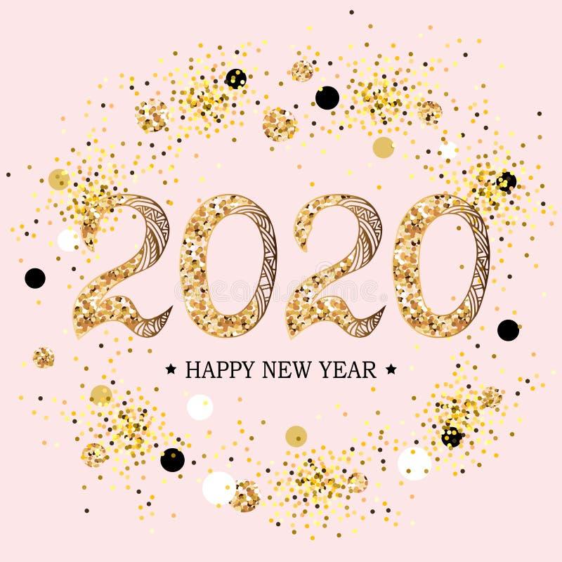 2020 Szcz??liwych nowy rok ilustracja wektor