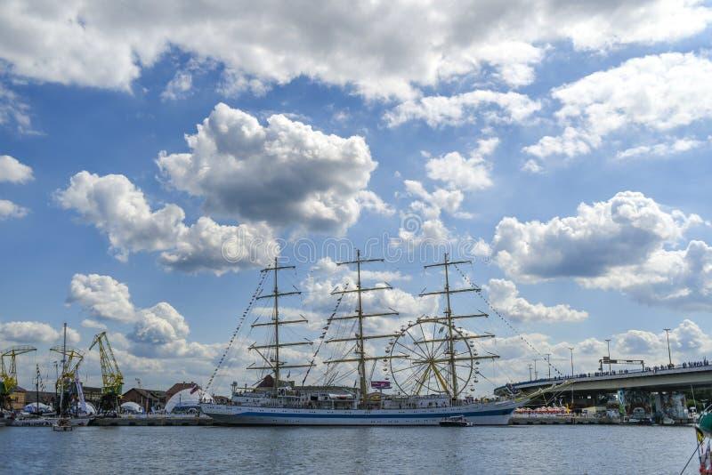 Szczeciński, Polska, 7 august 2017: Statek przy quay podczas żebra obrazy royalty free