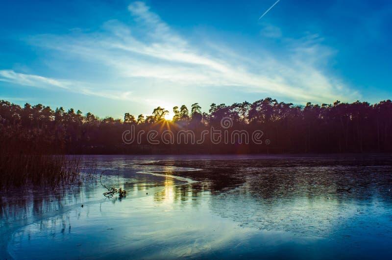 Szczecin, Озер-заход солнца стоковая фотография rf