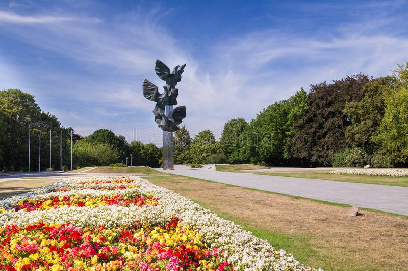 Szczecin.  Historical Monument to Poles` Deed in Kasprowicz Park. Poland travel royalty free stock images
